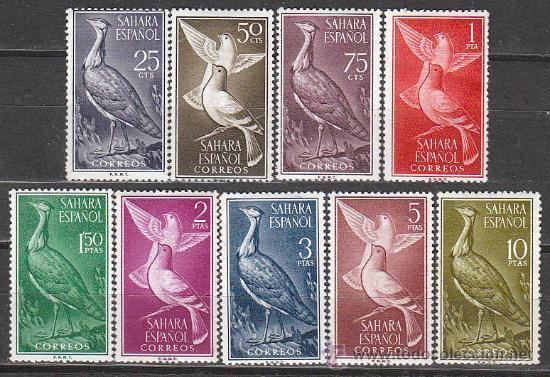 SAHARA EDIFIL Nº 180/8, AVES (HUBARA Y PALOMA BRAVIA), NUEVOCON SEÑAL DE CHARNELA (Sellos - Temáticas - Aves)