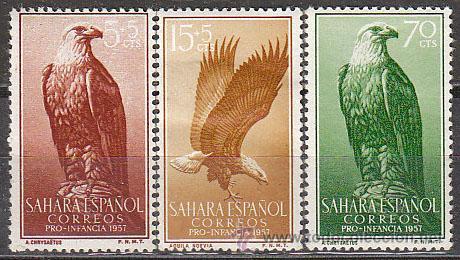 AHARA EDIFIL Nº 139/41, AGUILA REAL Y POMARINA, PRO INFANCIA 1957, NUEVO CON SEÑAL DE CHARNELA (Sellos - Temáticas - Aves)