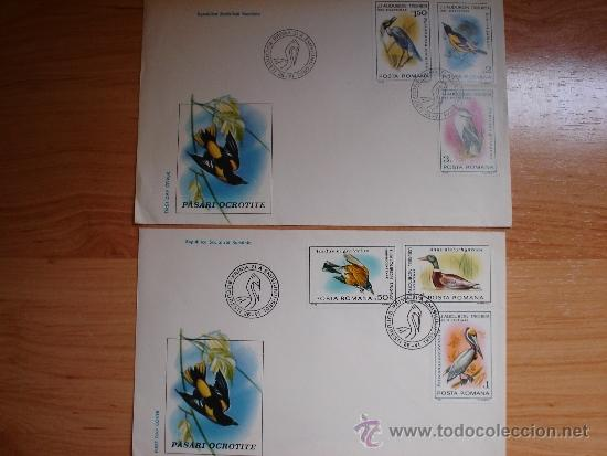 2 SOBRES PRIMER DÍA RUMANÍA TEMA AVES 1985 (Sellos - Temáticas - Aves)
