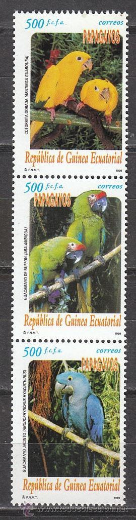 GUINEA ECUATORIAL EDIFIL 259/61, PAPAGAYOS, SELLOS NUEVOS SIN SEÑAL DE CHARNELA (Sellos - Temáticas - Aves)