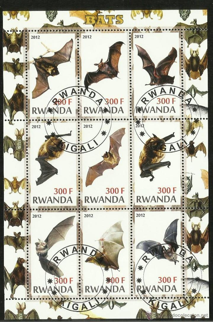 RWANDA 2012 HOJA BLOQUE TEMATICA FAUNA MAMIFEROS MURCIELAGO - BATS - VAMPIRO (Sellos - Temáticas - Aves)