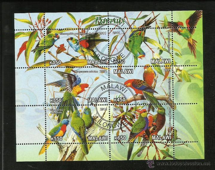 MALAWI 2011 HOJA BLOQUE DE SELLOS TEMATICA FAUNA AVE- AVES- BIRDS- PAJAROS LOROS- PARROTS- LORO (Sellos - Temáticas - Aves)