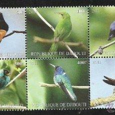 DJIBOUTI 2011 HOJA BLOQUE SELLOS TEMATICA FAUNA AVES- PAJAROS- BIRDS