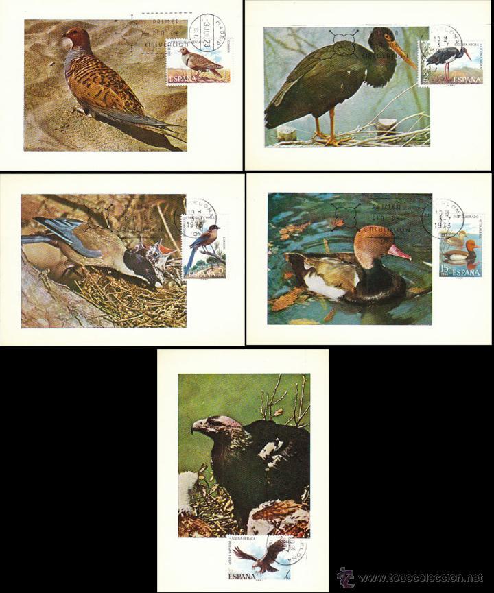 EDIFIL 2134/8, FAUNA HISPANICA, AVES, TARJETA MAXIMA DE PRIMER DIA DE 3-7-1973 SERIE COMPLETA (Sellos - Temáticas - Aves)