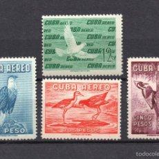 Sellos: CUBA AEREO 202/02C** - AÑO 1960 - FAUNA - AVES. Lote 56220602