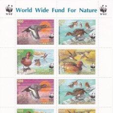 Sellos: HOJA BLOQUE CON 8 SELLOS DE AZERBAIJAN DE WWF CON PATOS (BIRD-DUCK) NUEVOS. Lote 61344523