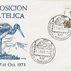 Sellos: AÑO 1973, CIGUEÑA NEGRA, MATASELLO DE TARRASSA, SOBRE DE ALFIL. Lote 68239657