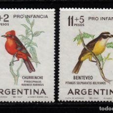 Sellos: ARGENTINA 679 Y AÉREO 96** - AÑO 1963 - FAUNA - AVES. Lote 133419821