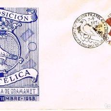 Sellos: AÑO 1958, PALOMA, V EXPOSICIÓN FILATELICA DE SANTA COLOMA DE GRAMANET, SOBRE DE GOMIS . Lote 114794103