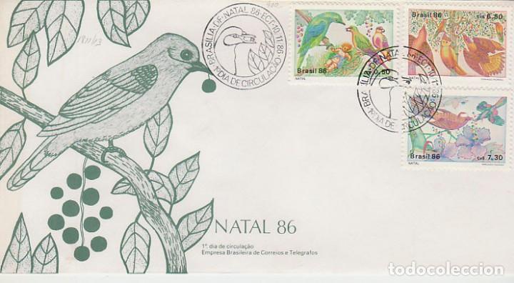 BRASIL 2089/91, PAJAROS, NAVIDAD, PRIMER DIA DE 10-11-1986 (Sellos - Temáticas - Aves)