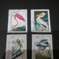 Sellos R. Guinea Bissau matasellado. 1985. Pajaros. Fauna. Pelicano. Grulla. Flamenco. Animales.