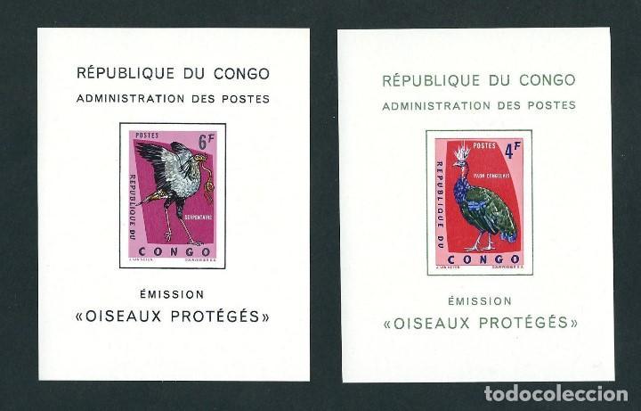 SELLOS REPUBLICA DEL CONGO 1963 AVES PROTEGIDAS SIN DENTAR LUJO (Sellos - Temáticas - Aves)