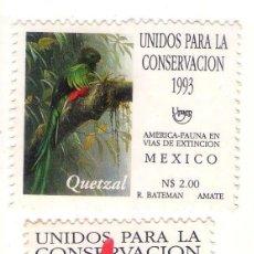 Sellos: MEXICO UPAEP´93, FAUNA EN PELIGRO DE EXTINCION.. Lote 133463306
