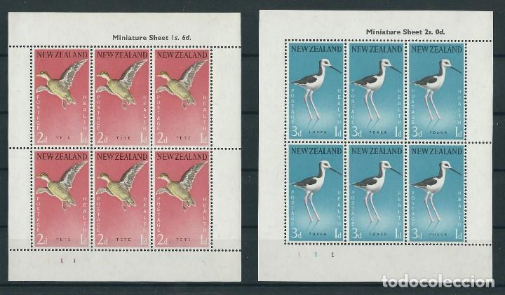 SELLOS NUEVA ZELANDA 1959** AVES 2 HOJAS DE 6 SELLOS (Sellos - Temáticas - Aves)