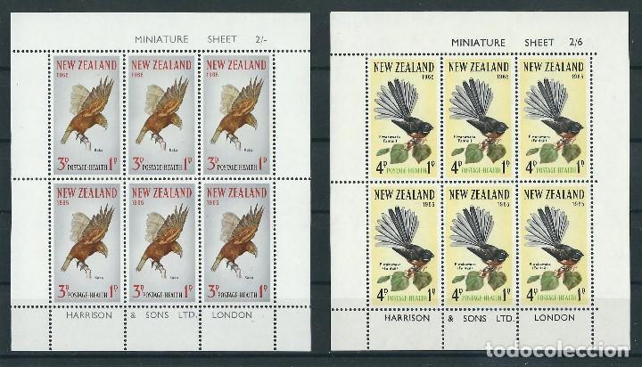 SELLOS NUEVA ZELANDA 1965** AVES 2 HOJAS DE 6 SELLOS (Sellos - Temáticas - Aves)