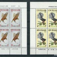 Sellos: SELLOS NUEVA ZELANDA 1965** AVES 2 HOJAS DE 6 SELLOS. Lote 133824666