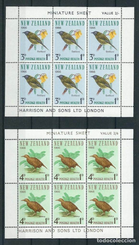 SELLOS NUEVA ZELANDA 1966** AVES 2 HOJAS DE 6 SELLOS (Sellos - Temáticas - Aves)