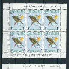 Sellos: SELLOS NUEVA ZELANDA 1966** AVES 2 HOJAS DE 6 SELLOS. Lote 133824702