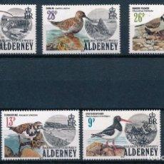 Sellos: ALDERNEY 1984 Y&T 13/17** AVES MARINAS. Lote 134415966