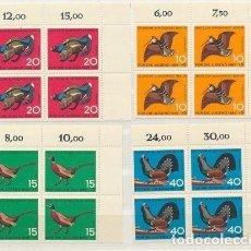Sellos: ALEMANIA BERLIN 1965 Y&T 226/29** AVES EN BLOQUES DE 4. Lote 135567602