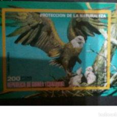Sellos: HB DE GUINEA ECUATORIAL MTDA/1976/AGUILA/NATURALEZA/AVES/PAJAROS/NIDO/CRIAS/ARBOL/FAUNA/RAPAZ/DEPRED. Lote 135955918