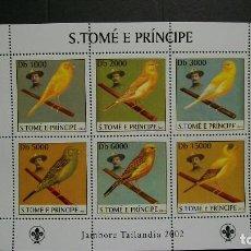 Sellos: S.TOME Y PRINCIPE-2003-Y&T 1422/7+BL.219**(MNH)-FAUNA-PAJAROS-PAJAROS CANTORES-A 10%. Lote 140035074
