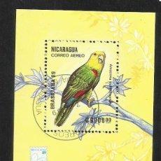 Sellos: NICARAGUA 1989 HOJA BLOQUE TEMATICA FAUNA AVES- PERIQUITO DEL AMAZONA- LORO- BRASILIANA 89 . Lote 140127918