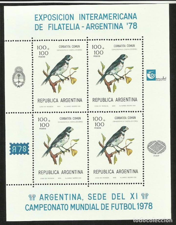 ARGENTINA 1978 HOJA BLOQUE SELLOS AVES - CORBATITA -EXP.INTERAMERICANA MUNDIAL FUTBOL (Sellos - Temáticas - Aves)