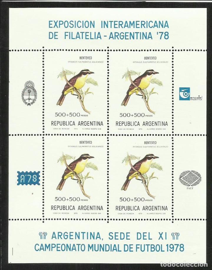ARGENTINA 1978 HOJA BLOQUE SELLOS AVES - BENTEVEO -EXP.INTERAMERICANA MUNDIAL FUTBOL (Sellos - Temáticas - Aves)