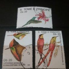 Sellos: SELLOS S. TOME Y PRINCIPE MTDOS/1989/AVES/COLIBRI/ANIMALES/PAJARO/FAUNA/FLORA/FLORES/PLANTAS/NATURAL. Lote 142927122