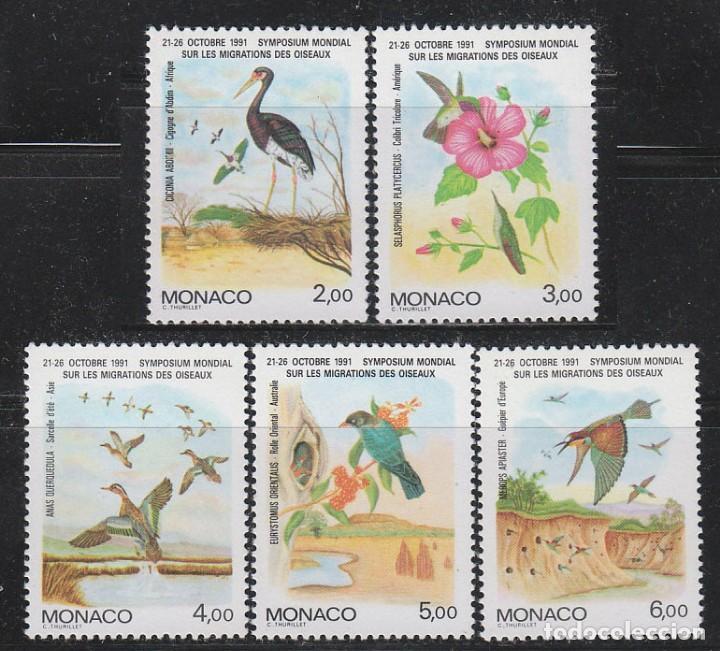 MONACO 1754/8, SIMPOSIUM MUNDIAL SOBRE LA MIGRACIÓN DE LAS AVES, NUEVOS *** (Sellos - Temáticas - Aves)