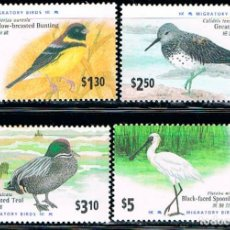 Sellos: HONG KONG 814/7, AVES MIGRATORIAS, NUEVO *** (SERIE COMPLETA). Lote 146889778