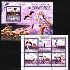 Sellos: UNION DE COMORES - 2 HB - SERIE COMPLETA - AVES - NUEVAS, SIN FIJASELLOS. Lote 147364942