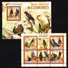 Sellos: UNION DE COMORES - 2 HB - SERIE COMPLETA - AVES - NUEVAS, SIN FIJASELLOS. Lote 147365714