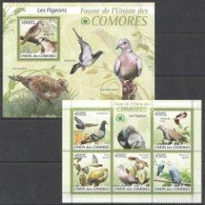 Sellos: UNION DE COMORES - 2 HB - SERIE COMPLETA - AVES - NUEVAS, SIN FIJASELLOS. Lote 147365918