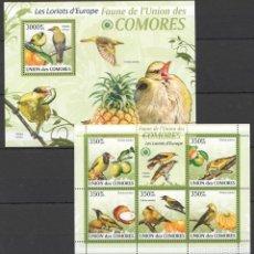 Sellos: UNION DE COMORES - 2 HB - SERIE COMPLETA - AVES - NUEVAS, SIN FIJASELLOS. Lote 147366178