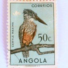 Sellos: SELLO POSTAL ANGOLA, 1951 , 50 CENTAVOS, MARTIN PESCADOR, USADO. Lote 149875186