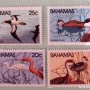 Sellos: BAHAMAS. 480/83 PÁJAROS: ANAS BAHAMENSIS, DICHROMANASSA, SULA LEUCOGASTER, DENDROCYGNA ARBOREA. 1981. Lote 148721598