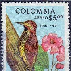 Sellos: 1977 - COLOMBIA - AVES - PAJARO CARPINTERO CANDELA - YVERT PA 610. Lote 150233678