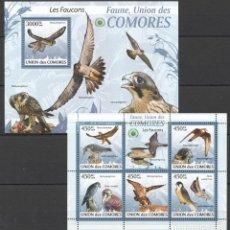 Sellos: UNION DE COMORES - 2 HB - SERIE COMPLETA - AVES - NUEVAS, SIN FIJASELLOS . Lote 150557322