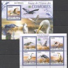 Sellos: UNION DE COMORES - 2 HB - SERIE COMPLETA - AVES - NUEVAS, SIN FIJASELLOS . Lote 150557682
