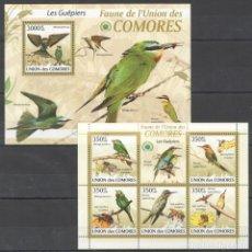 Sellos: UNION DE COMORES - 2 HB - SERIE COMPLETA - AVES - NUEVAS, SIN FIJASELLOS . Lote 150557910