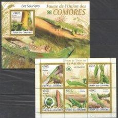 Sellos: UNION DE COMORES - 2 HB - SERIE COMPLETA - LAGARTOS - NUEVAS, SIN FIJASELLOS . Lote 150558082