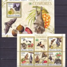 Sellos: UNION DE COMORES - 2 HB - SERIE COMPLETA - MURCIELAGOS - NUEVAS, SIN FIJASELLOS. Lote 150821462