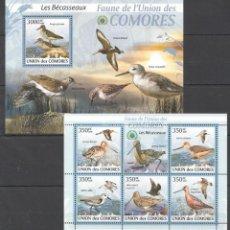 Sellos: UNION DE COMORES - 2 HB - SERIE COMPLETA - AVES - NUEVAS, SIN FIJASELLOS. Lote 150821794
