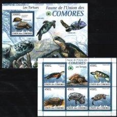 Sellos: UNION DE COMORES - 2 HB - SERIE COMPLETA - TORTUGAS - NUEVAS, SIN FIJASELLOS. Lote 150823834