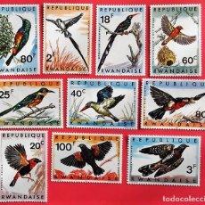 Sellos: RWANDA. 233/42 PÁJAROS: MARTÍN PESCADOR, CUCÚ, REINAMORA, BARBUDO..1967. SELLOS NUEVOS Y NUMERACIÓN. Lote 150713998