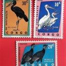 Sellos: CONGO BELGA. 481/83 PROTECCIÓN DE LOS PÁJAROS: PELÍCANOS, PINTADAS PICO-ABIERTO (DOBLEZ). 1963. SELL. Lote 150714254