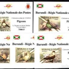 Sellos: BURUNDI 2012 - 5 HOJITAS LUX - SERIE COMPLETA, SIN DENTAR - PALOMAS - NUEVAS, SIN FIJASELLO. Lote 151270398