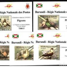 Sellos: BURUNDI 2012 - 5 HOJITAS LUX - SERIE COMPLETA - PALOMAS - NUEVAS, SIN FIJASELLO. Lote 151270746